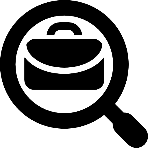 Worker vector job seeker. Business search symbol icons