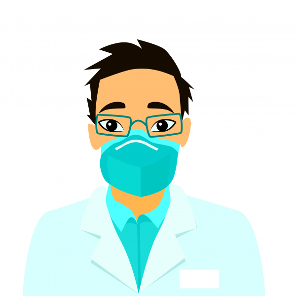 Vector illustration Doctor wearing breathing mask to protect from 2019. Ncov talks about