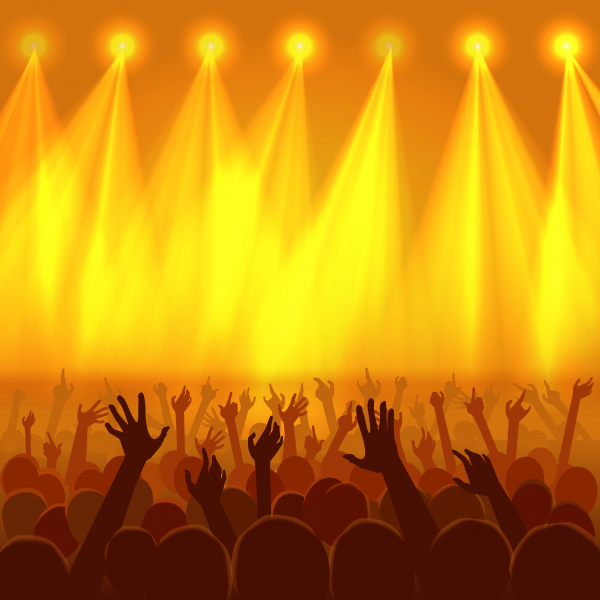 Vector illustration of a concert crowd with raised hands silhouettes. Disco or nightclub