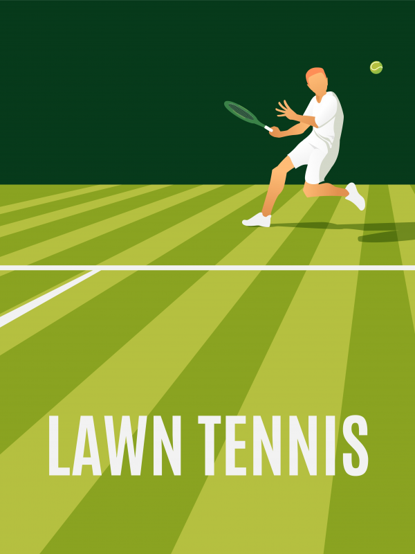Vector illustration of a male tennis player returning a serve on.