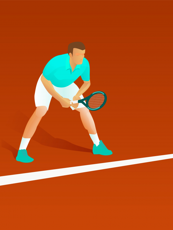 Vector illustration of a male tennis player waiting for the serv.
