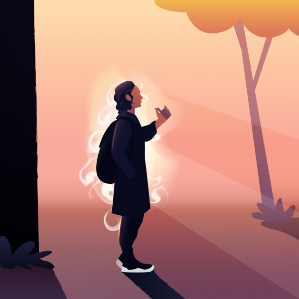Vector illustration of a young man smoking vape outdoor in a par.
