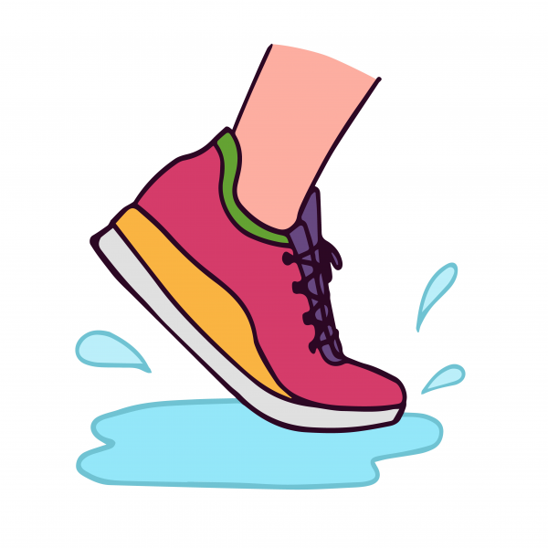 Vector illustration of running shoe with water splash card template.