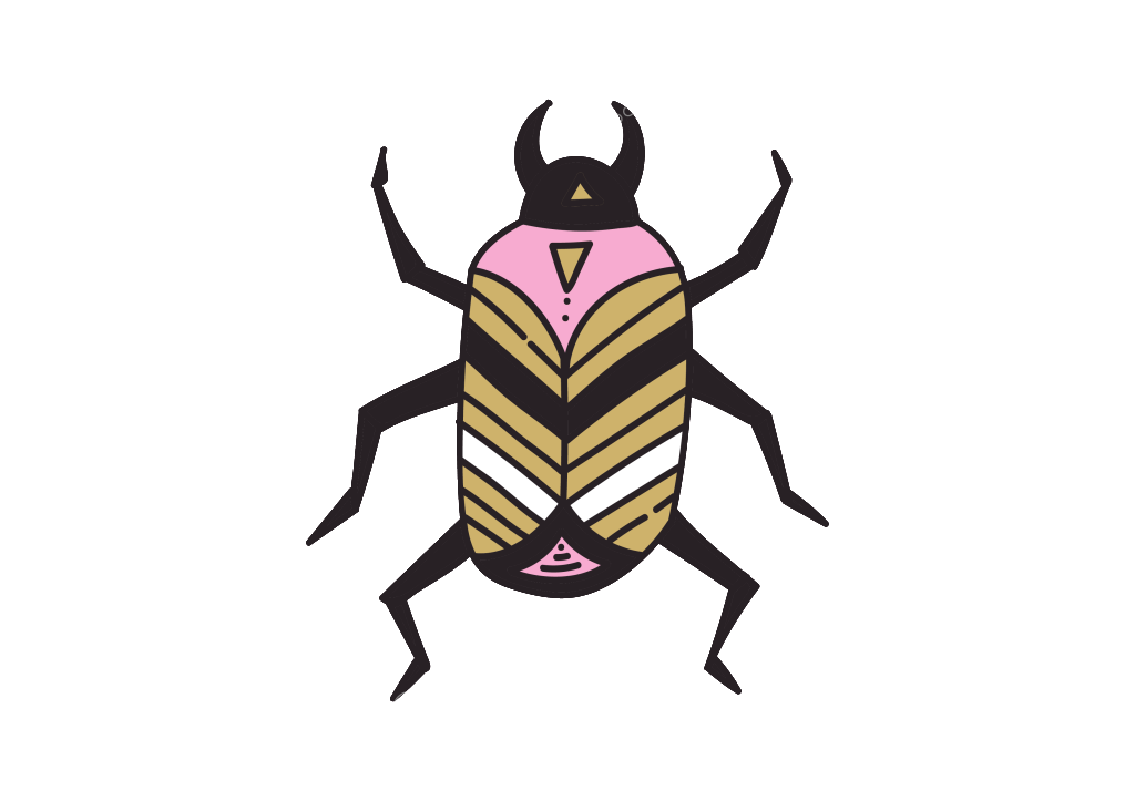 Vector insects. Hand painted insect harajuku