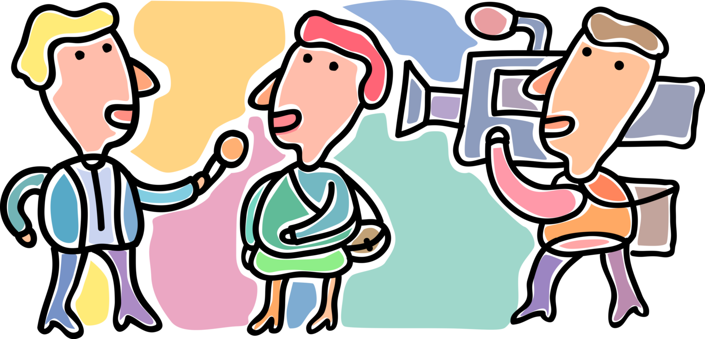 Vector interview. With reporter image illustration