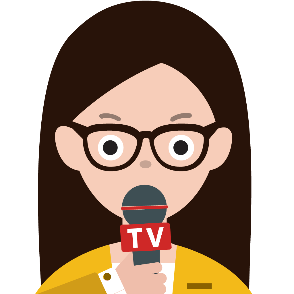 Vector interview reporter. Collection of free celebrities