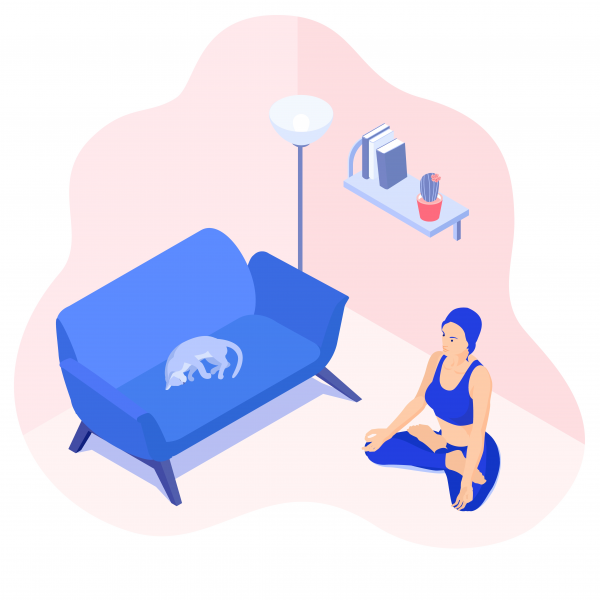 Vector isometric illustration of a meditating girl in her room w.