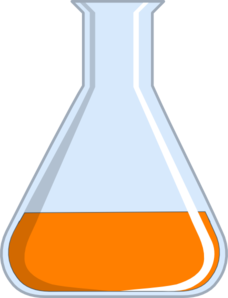 Vector laboratory flask. With growth media clip