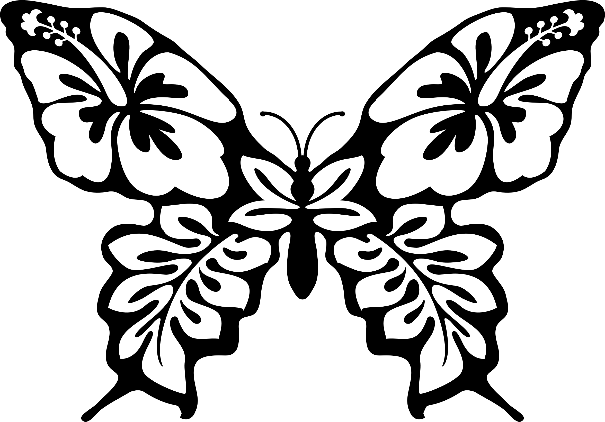 Vector laces butterfly. Clipart flower line art