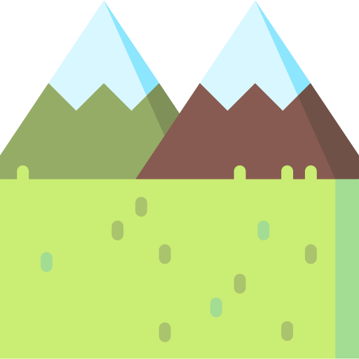 Vector lake mountain scenery. Landscapes png icons and