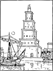 Vector lighthouse outline. Ancient clip art at