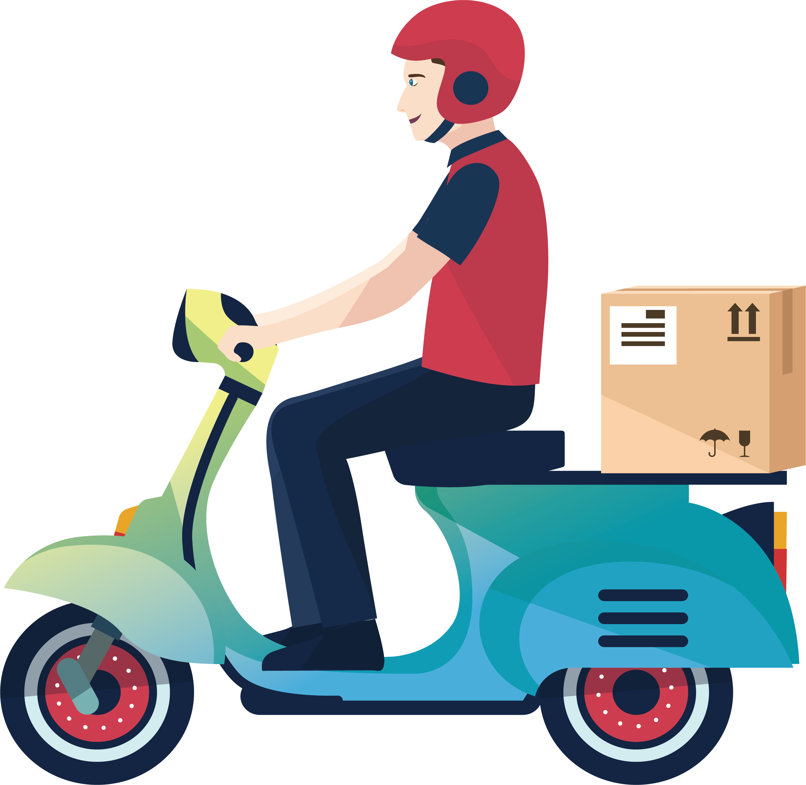 Scooter vector design. Delivery motorcycle courier logistics