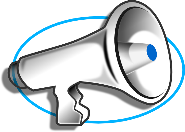 Vector megaphone clip art. With blue oval at