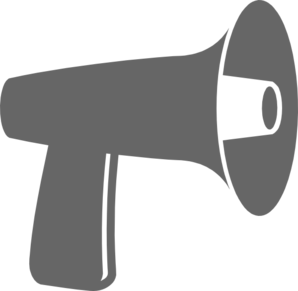Vector megaphone outline. Gray clip art at