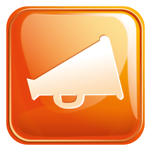 Vector megaphone orange. Square icon transparent png