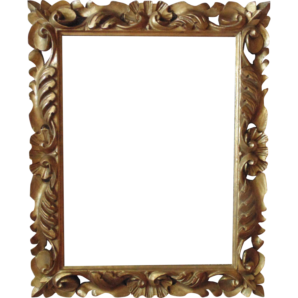 Vector mirror rectangle. Golden frame png picture