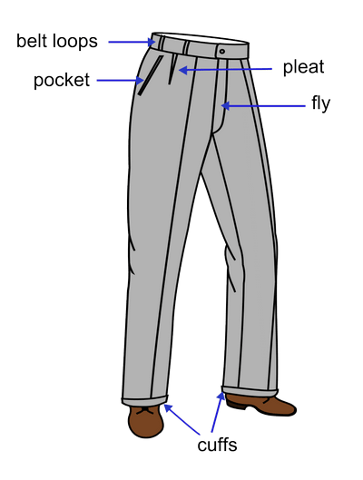 Vector models trouser. Different parts of a