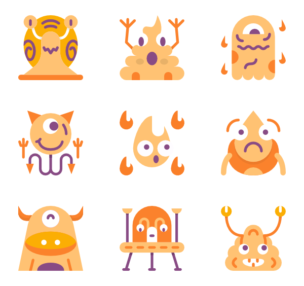 Vector monsters basic. Monster icons free