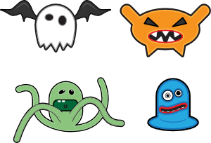 Vector monster animated cartoon. Monsters clip art at