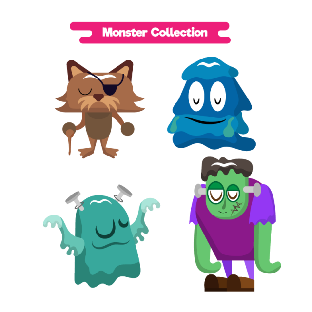 Vector monster character. Cute monsters cartoon png