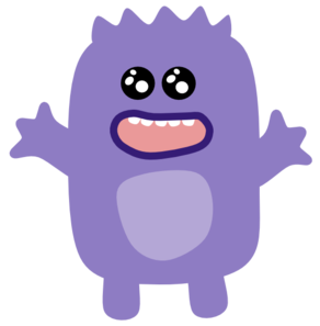 Vector monster creature. Purple clip art at