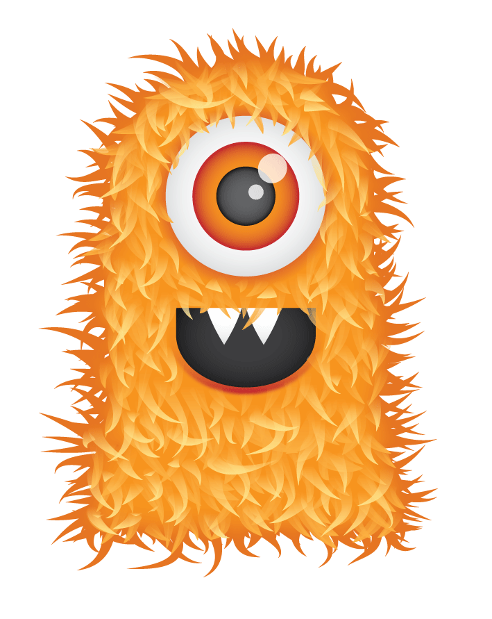 Vector monsters psd. Free cute hairy monster