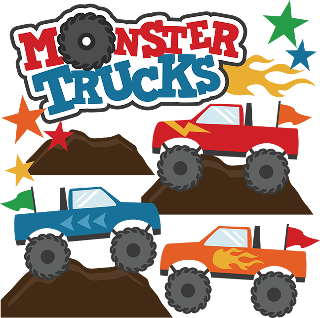 Vector monster file. Trucks svg scrapbook collections