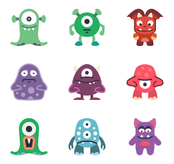 Vector monsters psd. Halloween monster icon