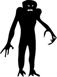 Vector monster silhouette. Scary google search to
