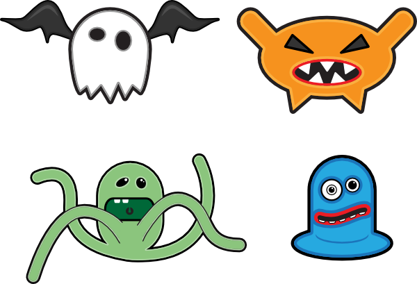 Vector monster simple. Cartoon monsters clip art