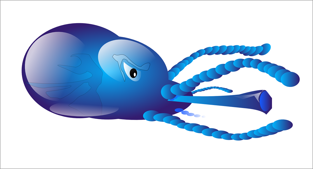 Vector monsters water. Squid sea animal monster