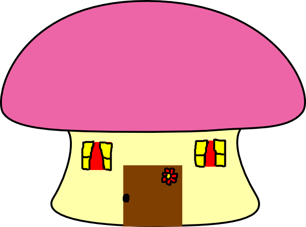 Vector mushroom house. Pink clip art at
