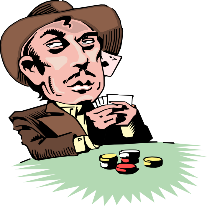 West gambler poker player. Vector nail old image free download