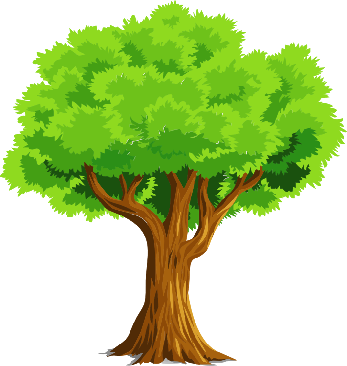 Vector nature art. Clipart colorful natural tree