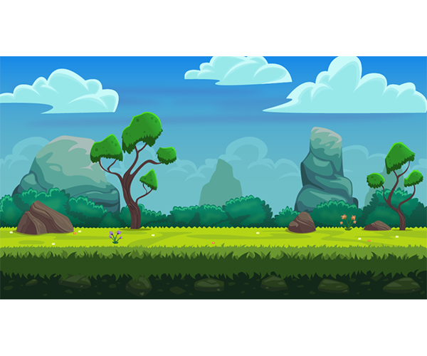 Vector nature environment background. Platform level art game