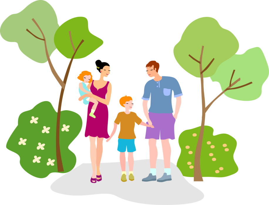 Vector nature kids. Father and mother with