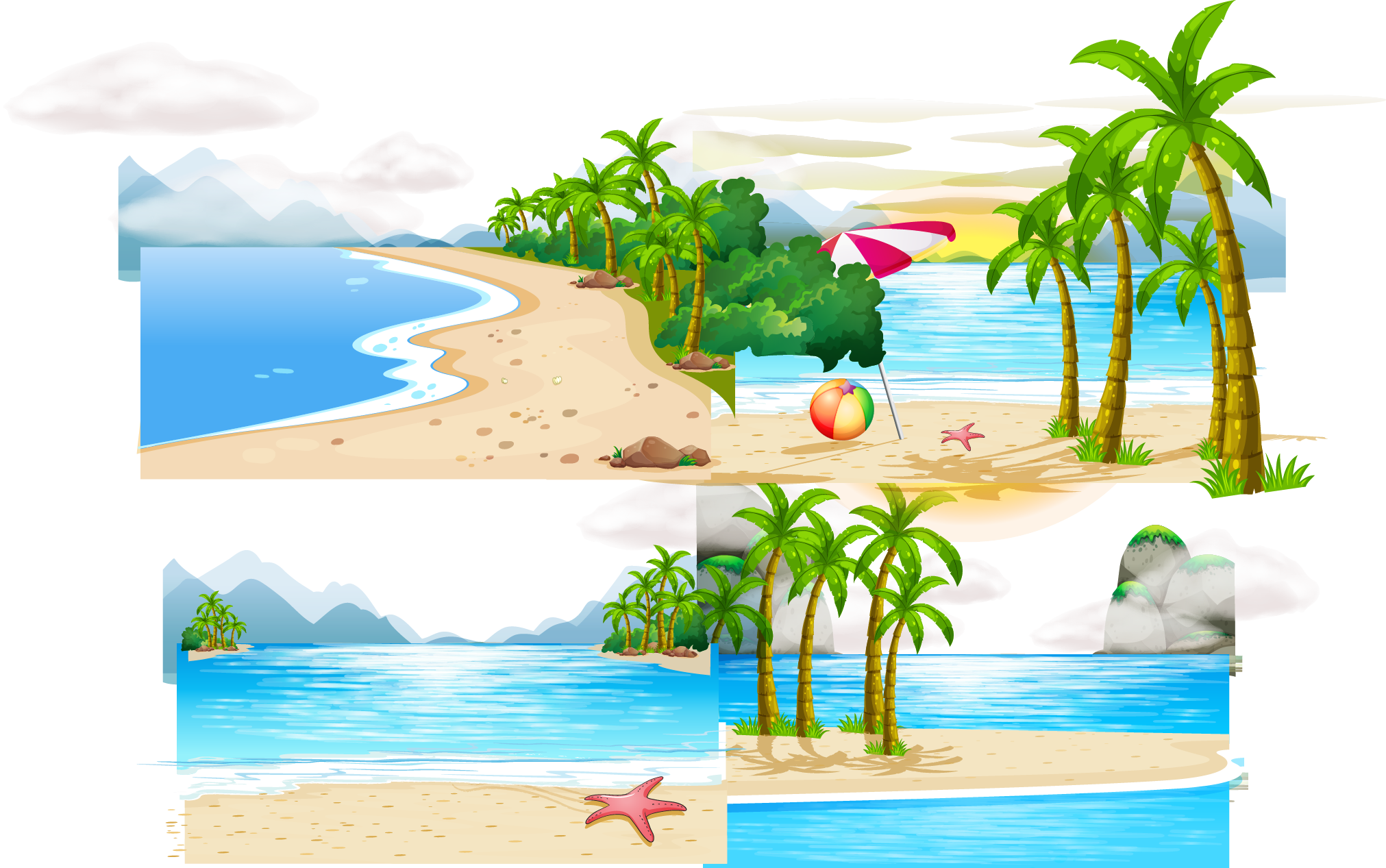 Vector nature summer. Island transprent png free