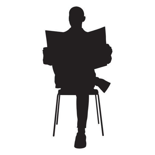 Vector newspaper silhouette. Man sitting with transparent