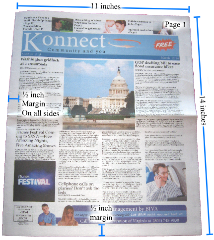 Vector newspaper template. Specifications for printing or