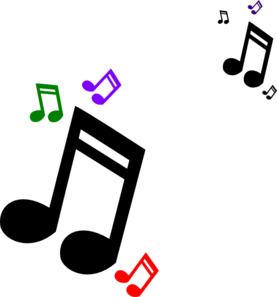 Vector notes clipart. Colored music clip art