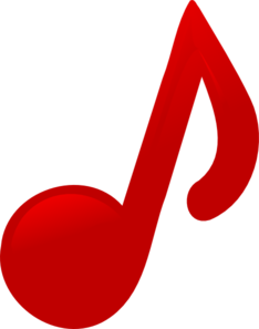 Vector notes musis. Red music note clip