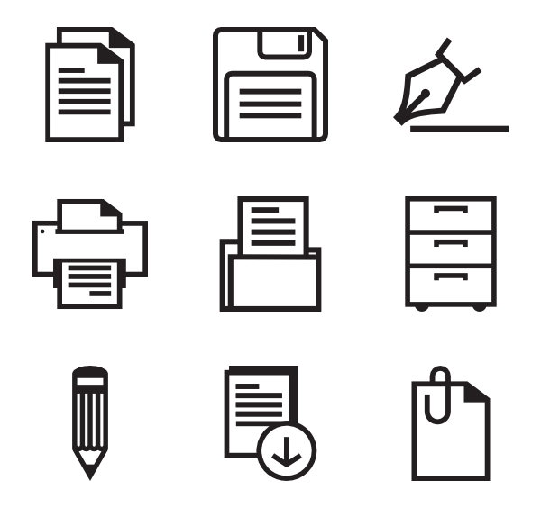 Vector tool office. Icons free bold