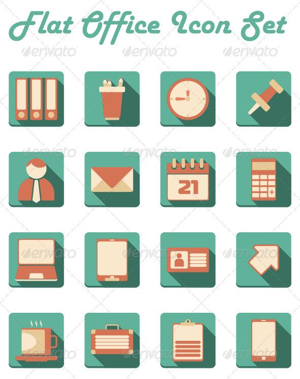 Vector offices flat. Office icon set pinterest