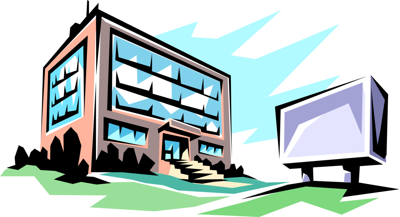 Vector office illustration. Building image of small
