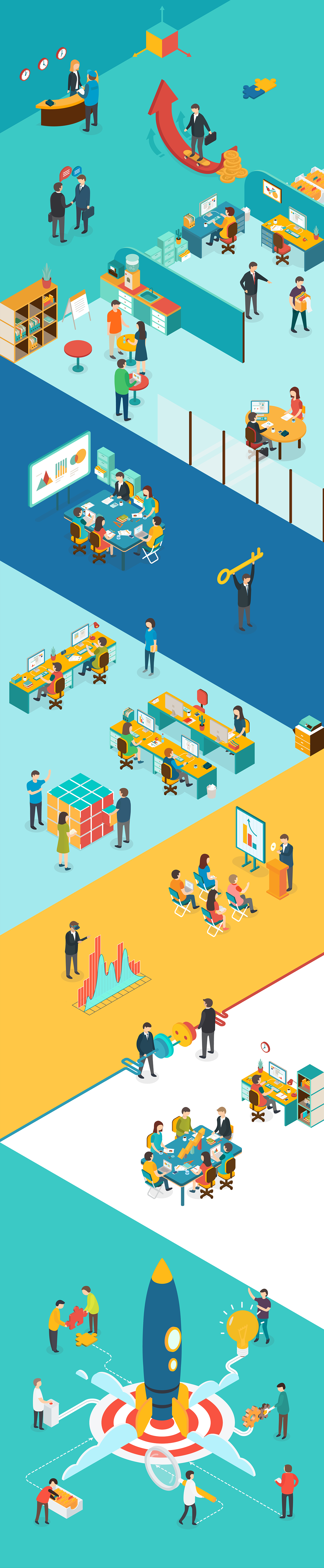 Vector office illustration. Isometric on behance