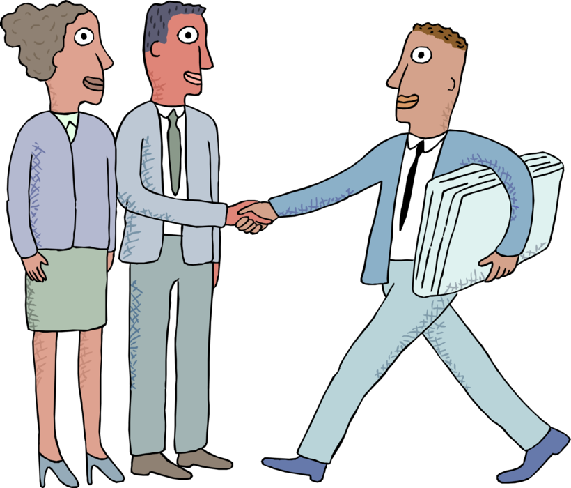 Vector office workers working. Shake hands image illustration