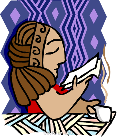 Vector offices illustration. Woman reading while drinking