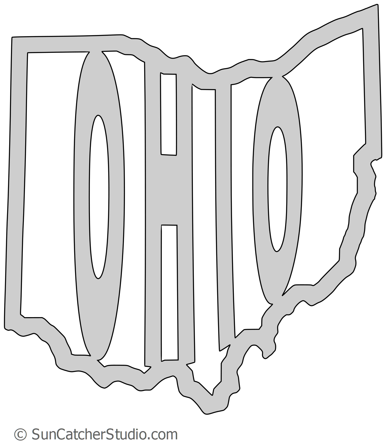 Vector ohio tattoo. Map outline printable state