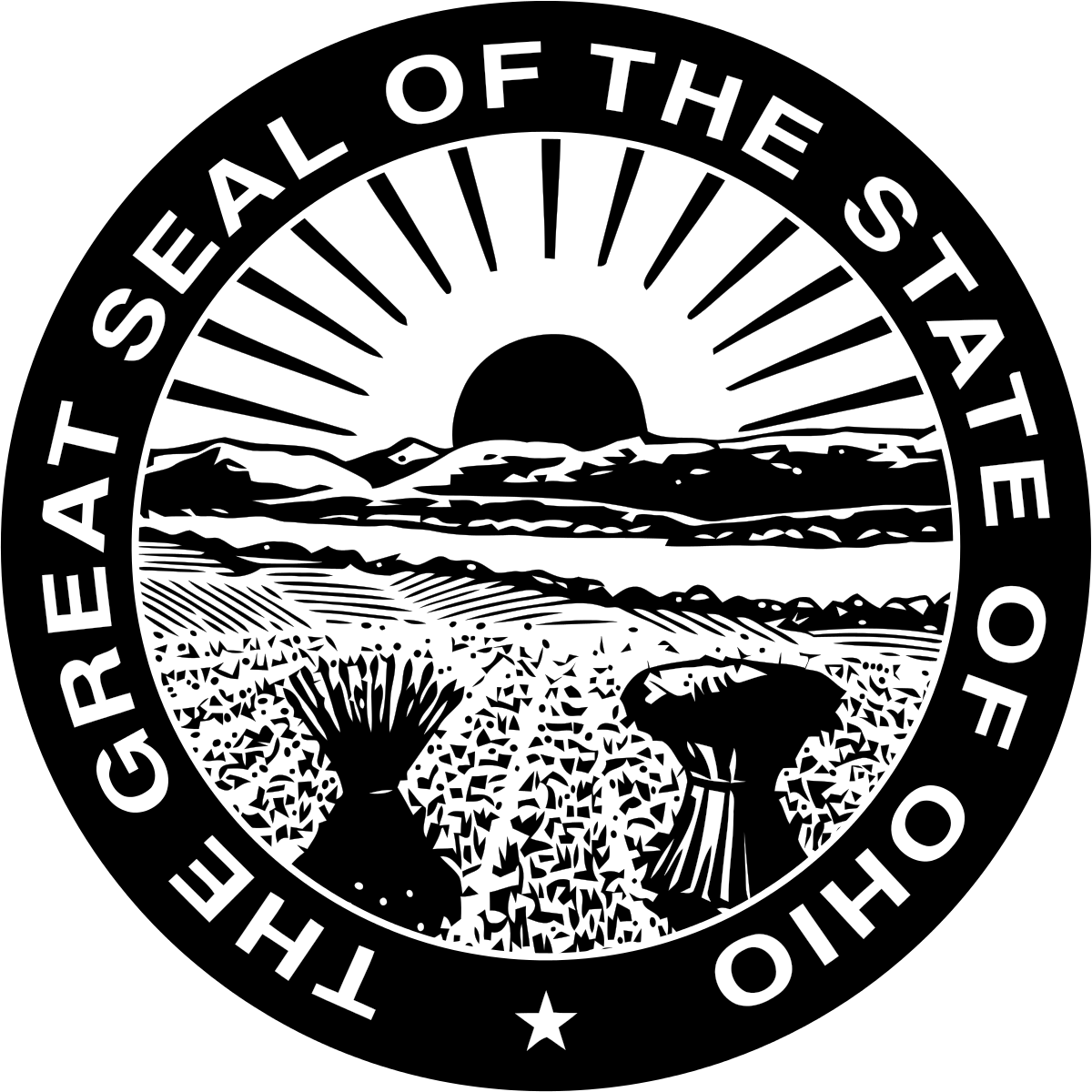 Vector ohio background. Seal of wikipedia