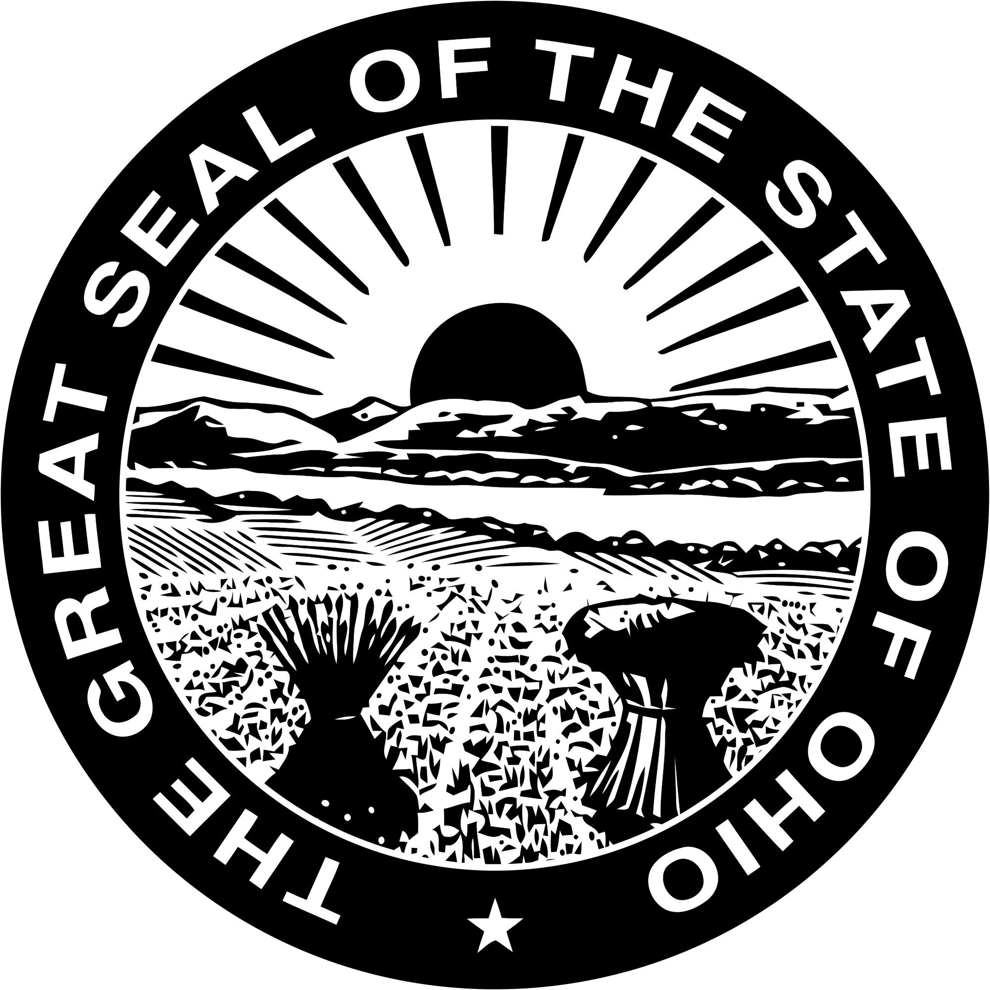 Vector ohio black and white. File seal of official